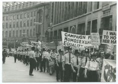 Marchers, banners and police at the first official gay pride march held in #London, 1st July 1972 | #UK #LGBT