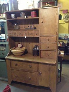 Primitive Mustard Bakers Cupboard. $1,450.00, via Etsy.