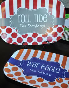 Personalized Platter for Game Day or Tailgating Auburn Alabama Auburn Alabama, Auburn Football, Alabama Crimson Tide, Auburn Tigers, Alabama Football, Pottery Painting, Ceramic Painting, Painted Pottery, Color Me Mine