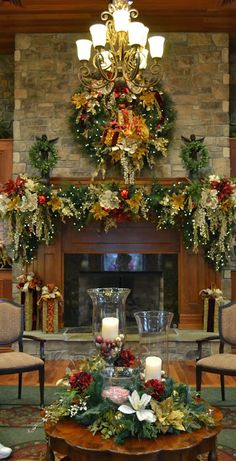24 Beautiful Christmas Fireplace Decor and Design Ideas 24 Beautiful Christmas Fireplace Decor and Design Ideas We are want… , Diy Christmas Fireplace, Christmas Mantels, Noel Christmas, Country Christmas, Winter Christmas, Christmas Wreaths, Fireplace Ideas, Fireplace Garland, Country Fireplace