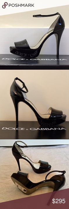 NWT Dolce & Gabbana Ankle-Strap Heels Pumps 39 9 Beautiful, brand new (NWT) pair of Dolce & Gabbana patent leather strappy platform heels. These heels are gorgeous--they're just too small for me and have been sitting in my closet for >2 years. Dust bag and box included.   -Size: 39 (US Women's 9) -Retail price: $795 -Material: Patent leather -Color: Black -Made in Italy. -Ankle-strap platform sandal.  Thanks so much for checking out my listing! Feel free to contact me with questions, offers…