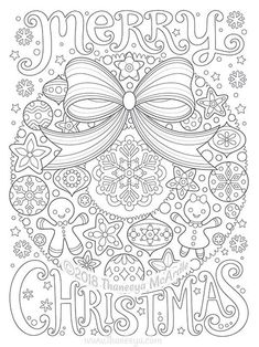 Merry Christmas Wreath Coloring Page by Thaneeya