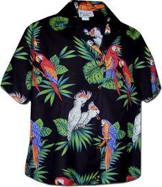 Pacific Legend Womens Parrots Hawaiian Shirt L Black * Click image for more details.