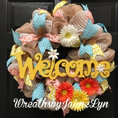 A personal favorite from my Etsy shop https://www.etsy.com/listing/507139116/spring-welcome-wreath-welcome-wreath
