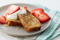 Made with day-old coconut flour bread, this French toast is a delightful morning treat! Top with strawberries, maple syrup, honey, toasted pecans, or whatever your family likes best.