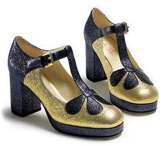 Orla Abigail, blau-goldene Glitzer-Pumps in Premium-Leder von Clarks | Orla Kiely Schuhe HW 15