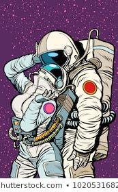cosmic love of cosmonauts, man hugs woman. Pop art retro comic book vector cartoon vector illustration hand drawing cartoon cosmic love of cosmonauts, man hugs woman. Cartoon Kunst, Comic Kunst, Cartoon Art, Comic Art, Comic Books Art, Retro Kunst, Retro Art, Pop Art Wallpaper, Galaxy Wallpaper