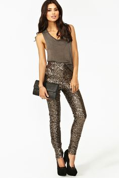 high-waist sequin pants