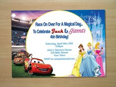 Custom Cars & Princess Twin Joint Birthday Invitation - Digital File (Printing Available)
