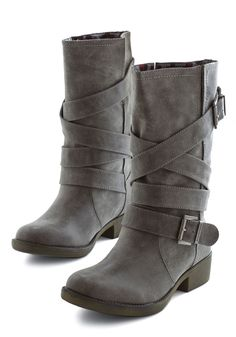 Whiskey Tasting Boot. Sit down to a delightful whiskey flight in these chic boots! #grey #modcloth