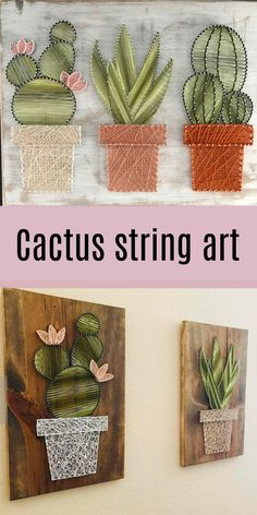 Obsessed with this cactus string art!! So Pretty!! #ad #affiliate #cactus #wallart #stringart #homedecor #cactusdecor