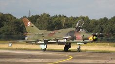 2 Sukhoi SU-22 Fitter from the Polish Air Force landing at Kleine Brogel Air Base.