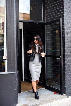 Grey Sweater Dress and leather Sweater Dress Outfit, Winter Dress Outfits, Work Outfits, Grey Fashion, Fashion Outfits, Women's Fashion, Fashion Styles, Best Leather Jackets, Leather Dresses
