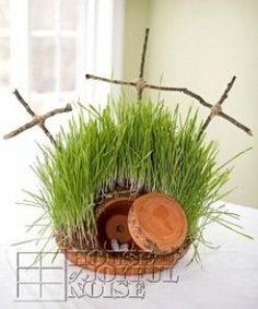 You'll find over 65 different Lenten Arts and Crafts ideas here, with pictures of the projects and the site names to the tutorials. You'll find this article useful if you teach a Sunday school class.  Used a plastic cup and flat stone  and put a miniture plant in the corner