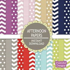 Digital Paper Pack Chevron Polka Dot Stripes Scrapbook Papers Afternoon