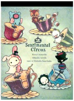 San-x Sentimental Circus Tea Cups Big Memo Pad w/ Stickers
