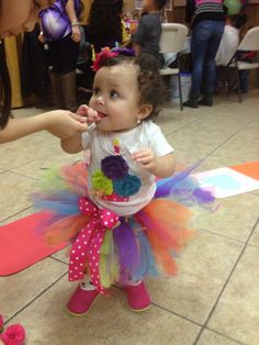 The birthday girl in her tutu. This was brought through Etsy.