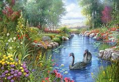 """New Full Square Diamond DIY Diamond Painting """"Swan Lake"""" picture Embroidery Cross Stitch Rhinestone Mosaic Decor Gift Oil Painting On Canvas, Diy Painting, Finger Painting, Landscape Art, Landscape Paintings, Belle Image Nature, Swan Wallpaper, Foto Picture, Ribbon Art"""