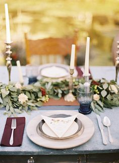 Classy table setting   Secret Garden Wedding Inspiration via @burnettsboards, pic by Travis Kaenel Photography