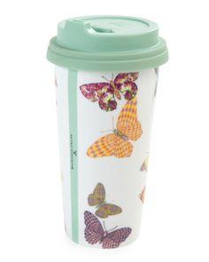 H87UG MacKenzie-Childs Butterfly Garden Travel Mug
