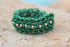 Rubberband Friendship Bracelet Green with beads by JJJCrafts, $3.50