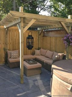 The pergola kits are the easiest and quickest way to build a garden pergola. There are lots of do it yourself pergola kits available to you so that anyone could easily put them together to construct a new structure at their backyard. Backyard Seating, Backyard Patio Designs, Small Backyard Landscaping, Backyard Pergola, Pergola Plans, Landscaping Ideas, Cheap Pergola, Inexpensive Landscaping, Sloped Backyard
