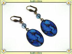 Boucles d'oreilles rétro vintage Papillon bleu gris