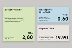 Picture of 5 designed by Sehen und Ernten for the project Original Unverpackt. Published on the Visual Journal in date 19 December 2014 Pop Design, Label Design, Sign Design, Branding Design, Corporate Design, Graphic Design Layouts, Layout Design, Price Signage, Price Tag Design