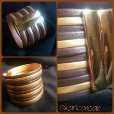 Bracelet pulseira dourada e marrom com fecho de imã by @kariconcah #pulseira #semfiltro