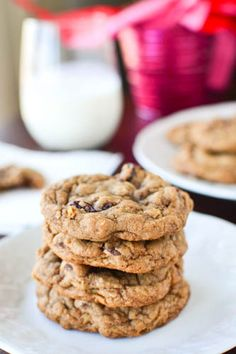 Soft and chewy oatmeal cookies full of Nutella, chocolate chips, and dried cherries. Yum.