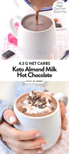 Low carb hot chocolate sugar free + dairy free - Sweetashoney KETO HOT CHOCOLATE a comforting drink with only 4 g net carbs Low Carb Drinks, Low Carb Desserts, Low Carb Recipes, Dessert Recipes, Dessert Bread, Free Recipes, Dairy Free Keto Recipes, Dairy Free Low Carb, Diabetic Drinks