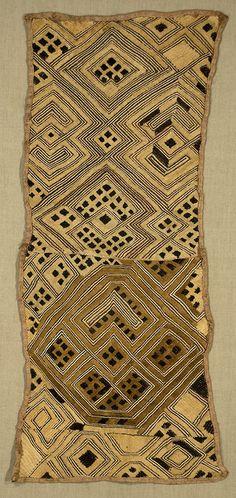 "Africa | Boutala Waist Wrap. Kuba. The Congo. 18""x 43"". Raffia cut pile and flatstitch embroidery."