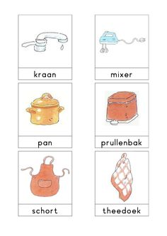 Woordkaarten Bas 'De keuken' 2 Series Free, Learn Dutch, Restaurant Themes, Dutch Language, Kindergarten Themes, Creative Teaching, Exercise For Kids, Primary School, Preschool Activities