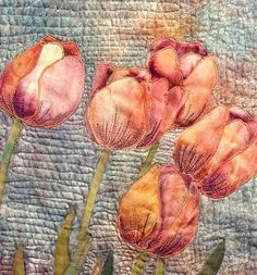Hand painted fabric  art quilt  Tulips by ArtQuiltsbyGretchen, $175.00