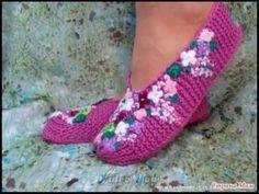 Красивая вязаная обувь. Beautiful crochet shoes. - YouTube