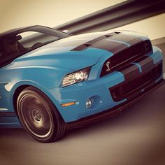 The 2013 Mustang beautiful black stripes on blue...
