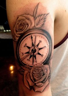 Rose and Compass tat. For more pictures like this, follow this board.