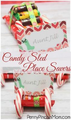 Candy sled place saver. Looking for an idea for a last minute Christmas craft. Or a fun table place saver piece? These adorable candy cane sleds are insanely easy to make and perfect for putting customized name labels on for your holiday party decor.