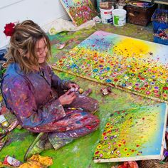 Yvonne Coomber happy at work in her studio. Find out more about Yvonne at www.yvonnecoomber.com