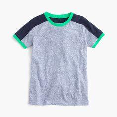 A colorbocked T-shirt is a cool dude's closet necessity. <ul><li>Cotton.</li><li>Machine wash.</li><li>Import.</li></ul>