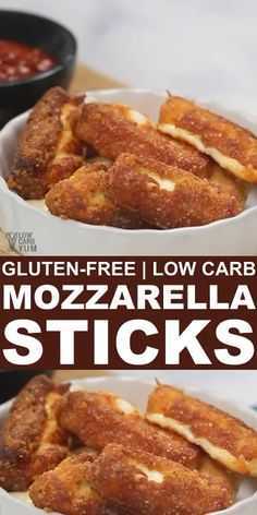 Want a convenient snack or appetizer? Keep some of these easy to make low carb gluten free mozzarella sticks in your freezer for a quick bite any time. // gluten free living // gluten free foods // appetizers low carb // easy low carb appetizers // by Mozzarella Sticks, Ketogenic Recipes, Low Carb Recipes, Ketogenic Diet, Pescatarian Recipes, Protein Recipes, Gf Recipes, Avocado Recipes, Quick Recipes