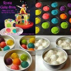Bake colored cake balls in muffin pan and then when done put them inside white cake batter and bake as directed.  Makes awesome looking cake.