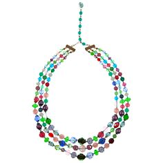 Eclectica 1950s Three Row Assorted Bead Necklace
