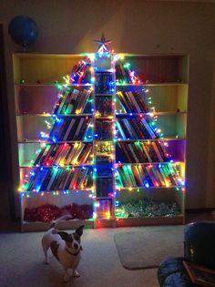 My book shelf Christmas tree 2015 Book Christmas Tree, Unique Christmas Trees, Bookshelves, Ava, Shelf, Decoration, Holiday Decor, Home Decor, Decor