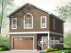 W3954   Workshop, Garage Apartment, Open Concept Living With Cathedral  Ceiling  Two Story Garage Apartment Plans