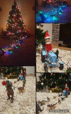 Night 22 2016 Dinosaur & Tractor Sleigh. Elf.on the Shelf helping out Santa