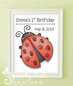 Ladybug Fingerprint Guest Book - Ladybug Birthday Party - Ladybug Baby Shower - Personalized & Printable (PDF) Ladybug Guestbook. $5.00, via Etsy.