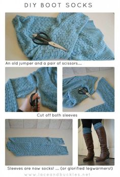 Boots and legwarmers are the rage right now, but who wants to pay an arm and a leg for them? here is a DIY boot socks or legwarmers tutorial ~Lace and Buckles~ Great use for old sweaters! Boot Cuffs, Boot Socks, Diy Fashion, Autumn Fashion, Womens Fashion, Unique Fashion, Fashion Ideas, Alter Pullover, Old Sweater