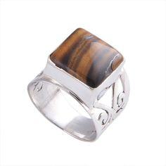 SIMPLE YELLOW TIGER EYE 925 PURE SILVER 5.11g RING JEWELLERY R0345 #Handmade #RING