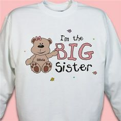 Big Sister Little Sister Personalized Teddy Bear Sweatshirts
